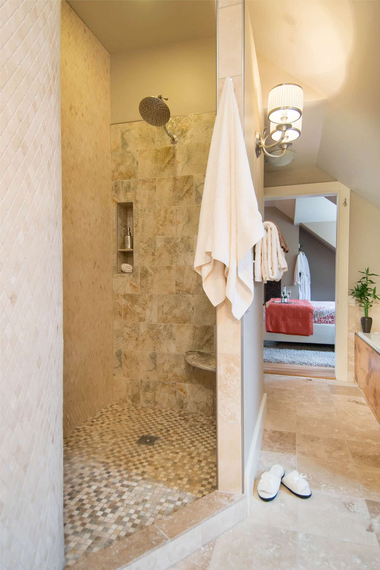 beautiful stone and tile shower