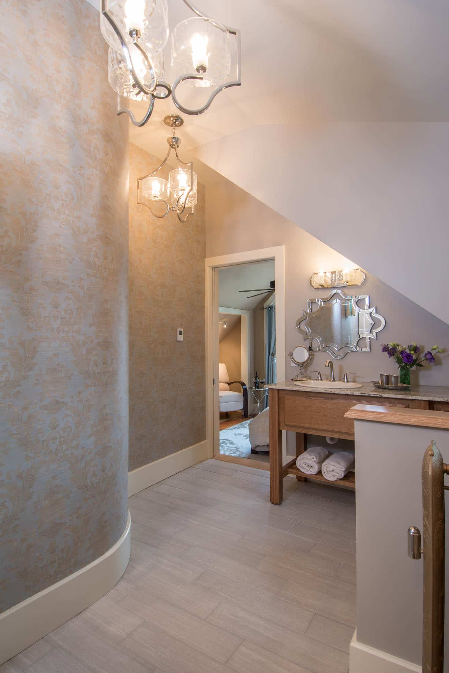 bathroom with curved wall