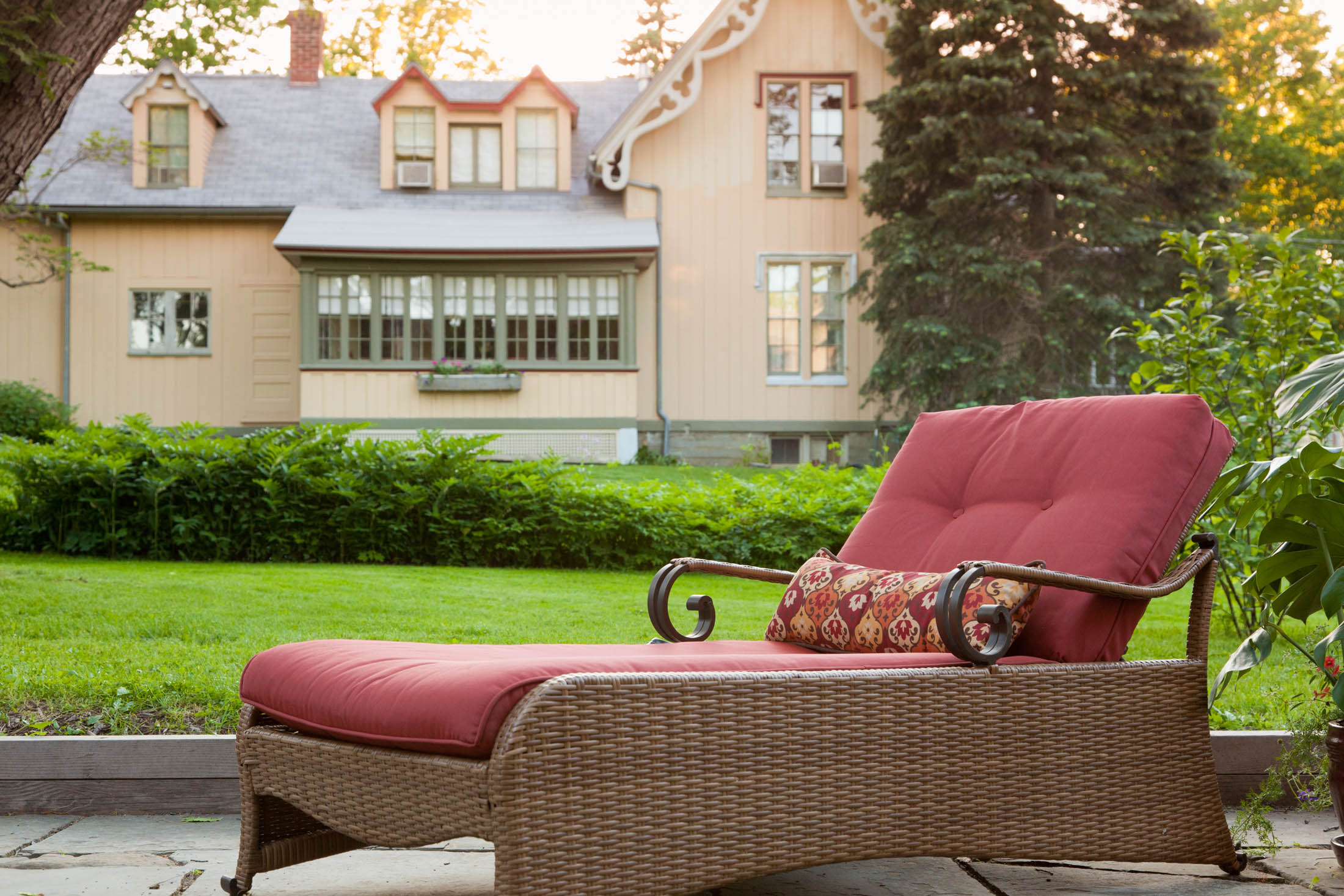 Chaise lounger on patio