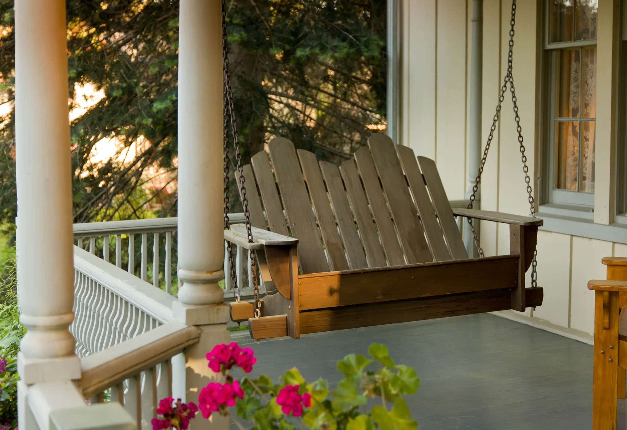Porch swing at Gothic Eves